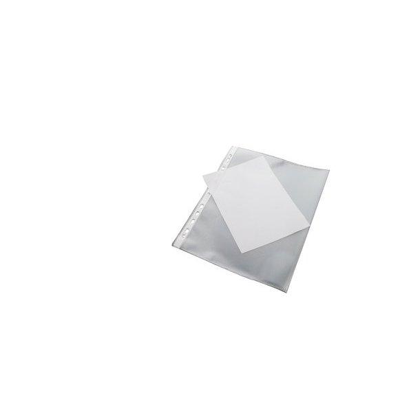 Plastlomme A4 åben t.v 0,08, m/ rygforstærkning - 100 stk