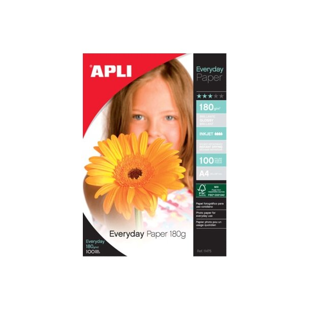 Apli everyday paper 180g, A4 - 100 ark