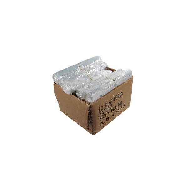 Affaldsposer 20 ltr. 50x50 cm, Klar 16 my LDPE - 1 rll