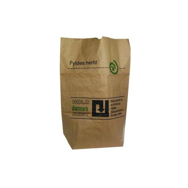 Affaldssække papir HOLD DK REN, Brun 70/25x95 cm - 50 stk