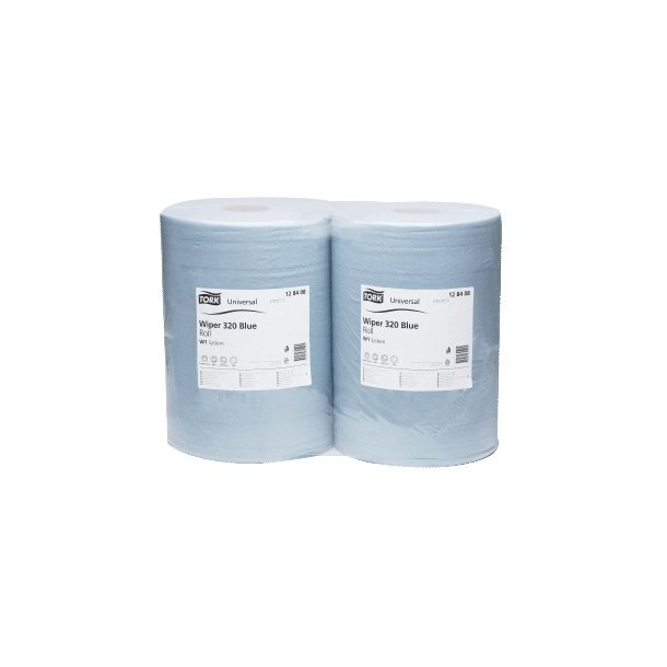 Aftørringspapir Tork Basic W1, Blå, 2-lags - 2 ruller